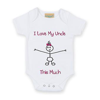I Love My Uncle This Much Girls White Baby Grow
