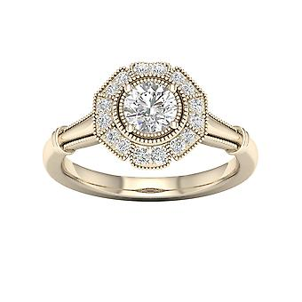 DE COUER 5/8Ct TDW Diamond 14k Yellow Gold Flower Halo Engagement Ring (I-J, I2)