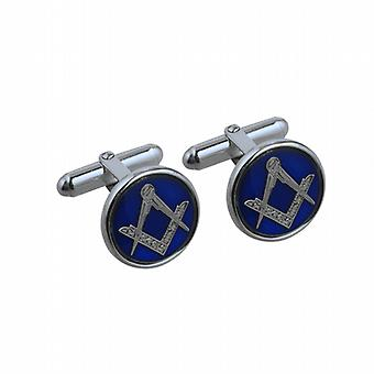 Silver 17mm round cold cure enamel Masonic swivel Cufflinks