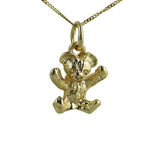 9ct Gold 13x12mm Teddy Bear with a curb Chain 18 inches