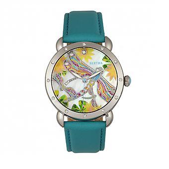 Bertha Jennifer MOP Leather-Band Ladies Watch - Silver/Turquoise