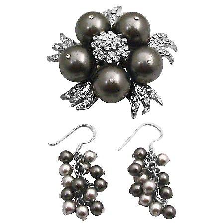 Swarovski Brown Pearls Brooch Pin & Earrings Wedding Set