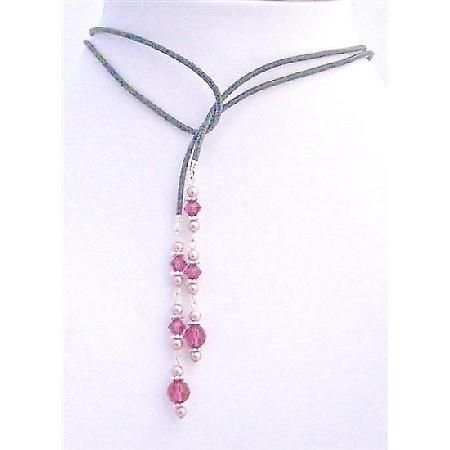 Stylish Swarovski Powder Rose Pearls Fuchsia Crystals Lariat Necklace