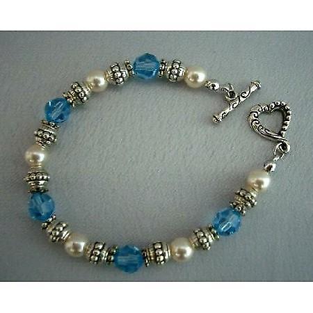 Swarovski Crystals & Pearls w/ Oxidized 7 inches Bracelets