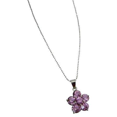 Pink Crystals Flower Pendant Birthday & Wedding Return Gift Necklace