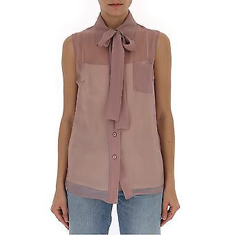 Blusa de seda rosa de Prada
