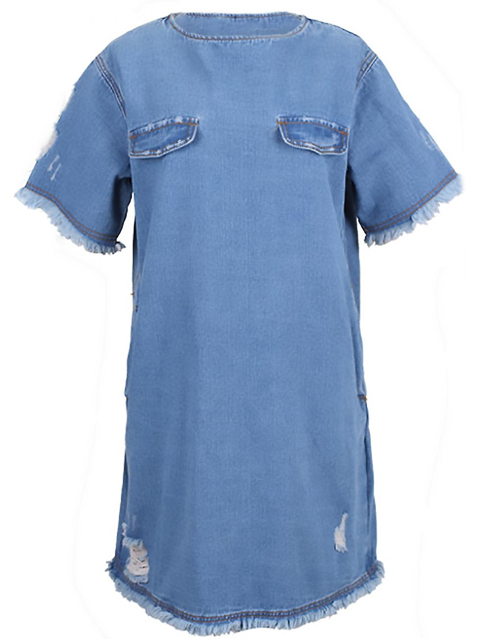 Short dress vintage style jeans and worn Roulia