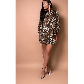 IKRUSH mujeres Carley Leopard impresión volante vestido