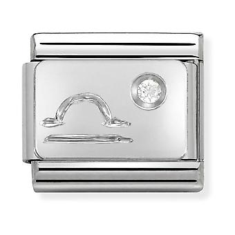 Nomination Classic Libra Zodiac Steel, CZ and 925 Silver Link Charm 330302/07