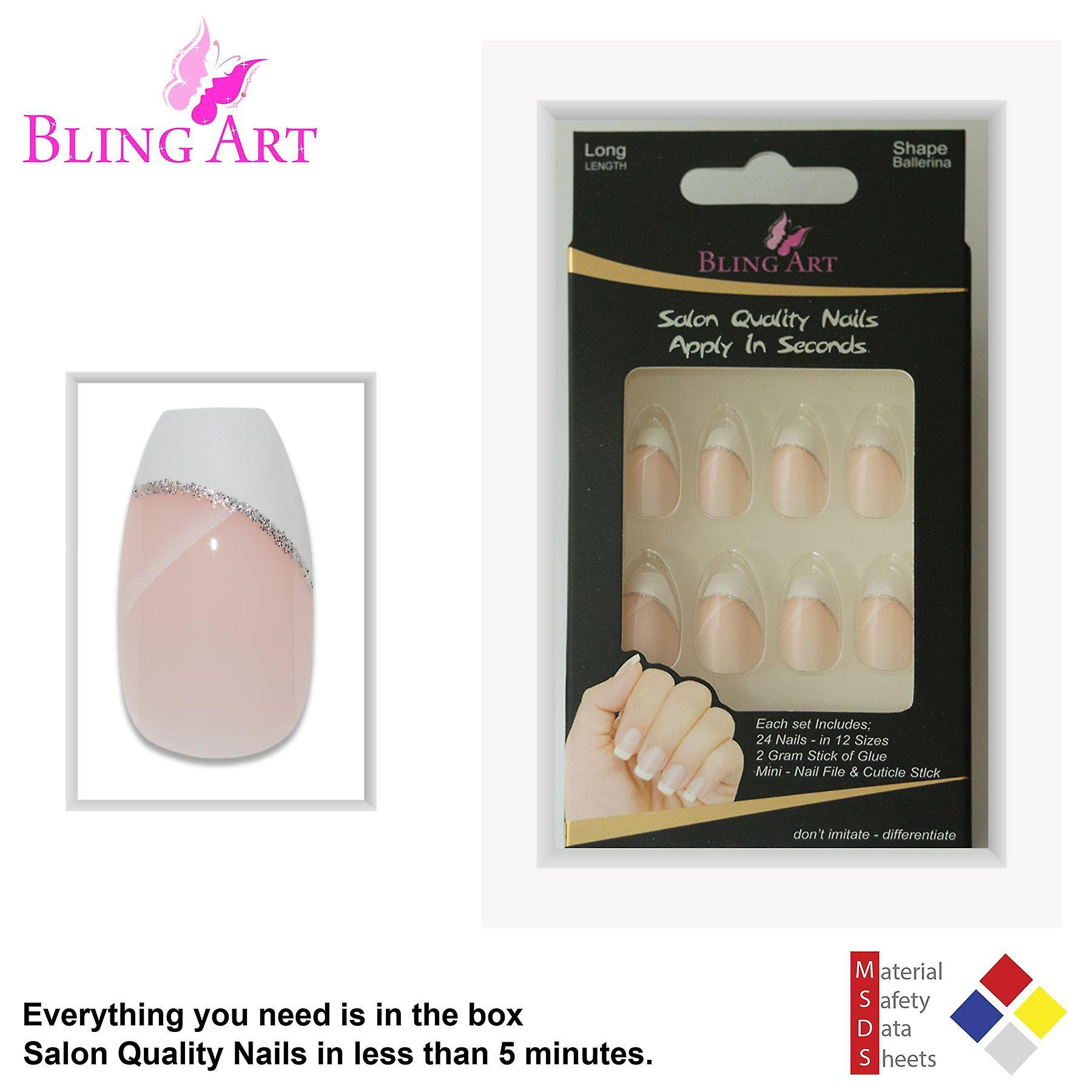 False nails by bling art white polished ballerina coffin fake french nail tips