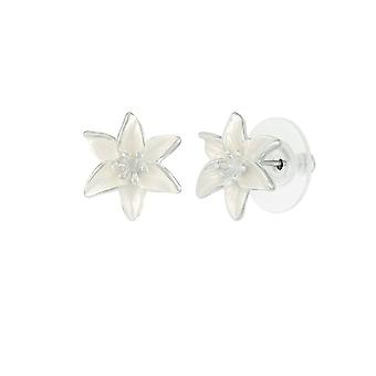 Eternal Collection Lily Bianco smalto argento tono stud Pierced orecchini