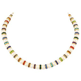 Eternal Collection Kaleidoscope Multicoloured Crystal Shell Pearl Gold Tone Statement Necklace