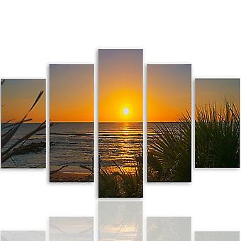 Five Part Picture On Canvas, Pentaptych, Type A, Sunset On The Beach 2