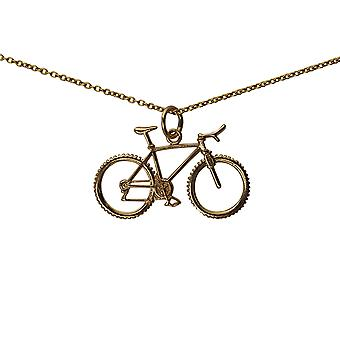 9ct Gold 17x29mm Bicycle and Cyclist Pendant with a cable Chain 20 inches