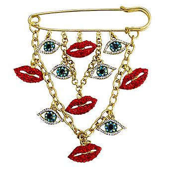 Butler and Wilson Crystal Multi Lips and Eye Charm Pin Brooch