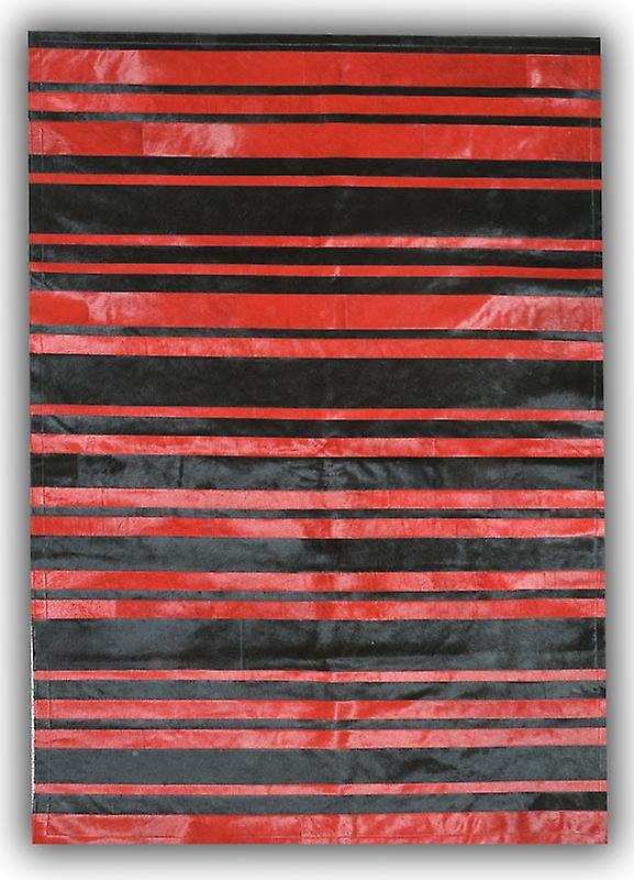 Rugs - Patchwork Leather Cowhide - ST7-62 Red & Black Stripes