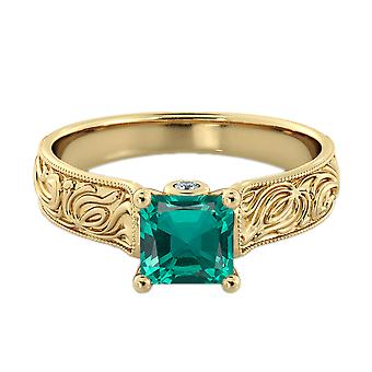 1.06 ctw Emerald Ring with Diamonds 14K Yellow Gold Filigree Cathedral Princess