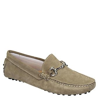 Men's driving moccasins in taupe suede leather handmade