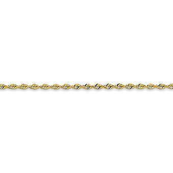 14 k geel gouden stevige lichtgewicht Lobster Claw sluiting 2.82mm Sparkle-Cut extra lichte touw ketting Ankle Bracelet - lengte