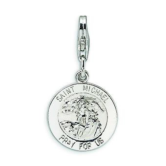 Sterling Silver Rhodium-plated Fancy Lobster Closure Saint Michael Medal With Lobster Clasp Charm - Measures 27x14mm