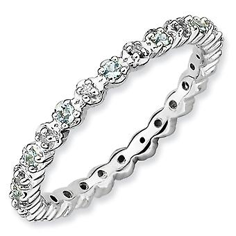 Sterling Silver Polished Prong set Rhodium-plated Stackable Expressions Aquamarine and Diamond Ring - Ring Size: 5 to 10