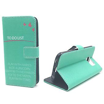 Mobile phone case pouch for mobile Samsung Galaxy S6 TO DO LIST turquoise