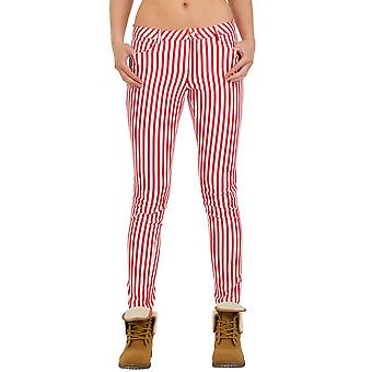 Slim Stripe Trousers - Red & White
