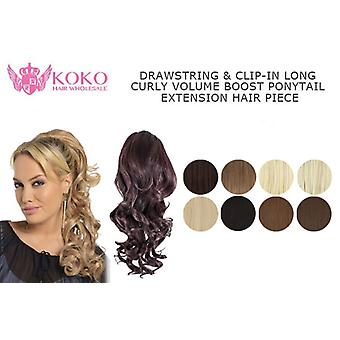"18"" Drawstring & Clip-In Long Curly Volume Boost Ponytail Extension Hair Piece"