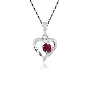 Gemondo 9ct oro blanco 0,30 ct genuino rubí y diamante corazón colgante de 45cm cadena
