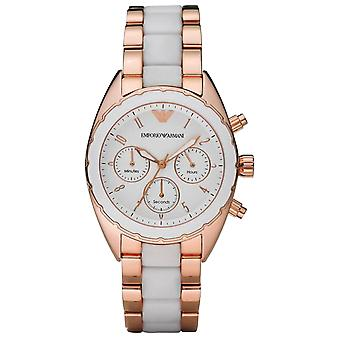 Emporio Armani AR5942 Gold Strap White Bezel Ladies Chronograph Sportivo Watch