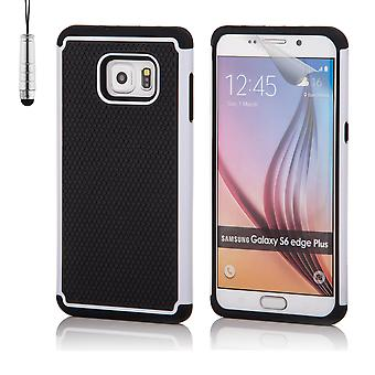Shock proof case for Samsung Galaxy S6 Edge+ (S6 Edge Plus) including stylus - White