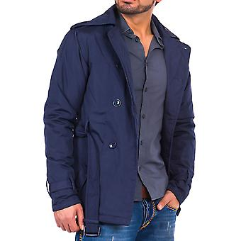 Tazzio fashion jacket mens trench coat Blau waist belt