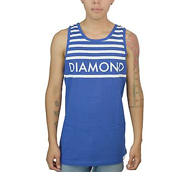 Diamond Supply Co hvide bryst striber mænds L blå T-shirt