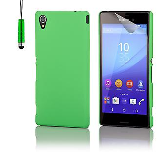 Hard shell case + stylus for Sony Xperia M4 Aqua - Green