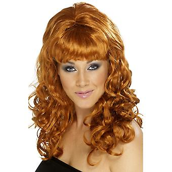 Beehive beauty wig with curly chestnut-brown