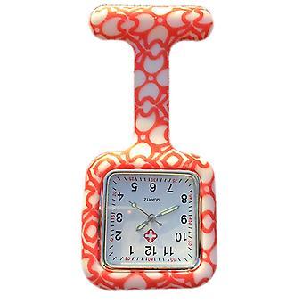 Boolavard® TM infirmières mode couleur à motifs Silicon Rubber Fob montres - coeurs carré Orange
