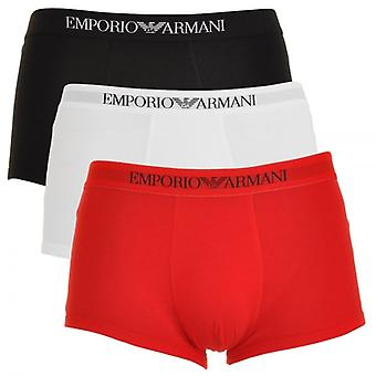 Emporio Armani Pure Cotton 3-Pack Trunk, White/Red/Black, X-Large