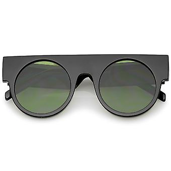 Futuristic Flat Top Wide Temple Flat Lens Round Sunglasses 47mm