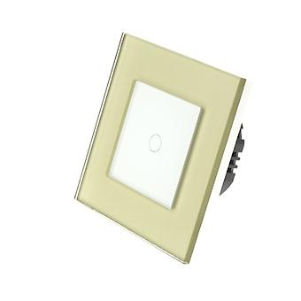 I LumoS Gold Glass Frame 1 Gang 1 Way WIFI/4G Remote & Dimmer Touch LED Light Switch White Insert