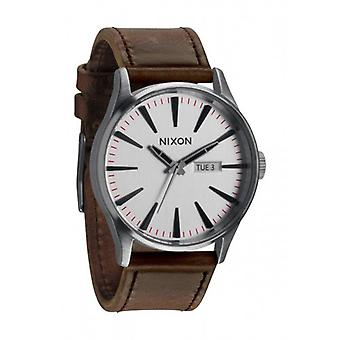 Nixon The Sentry Leather Watch - Silver/Brown