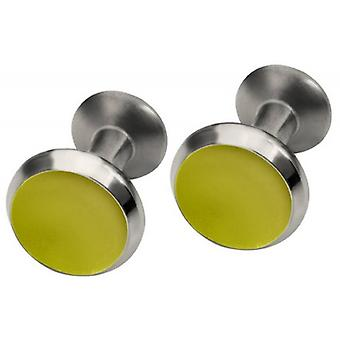 Ti2 Titanium Round Concave Cufflinks - Lemon Yellow
