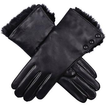Dents Sophie Fur Cuff Hairsheep Leather Gloves - Black