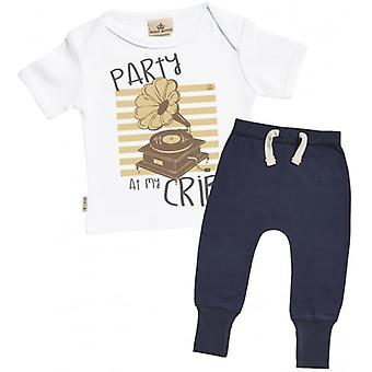 Spoilt Rotten Party At My Crib Baby T-Shirt & Navy Joggers Outfit Set