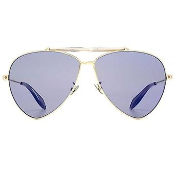 Alexander McQueen Edge Extreme Teardrop Pilot Sunglasses In Gold Blue Mirror