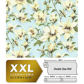 Flowers wallpaper EDEM 9080-29 non-woven wallpaper imprinted with floral ornaments 10.65 m2 white shimmering blue-green