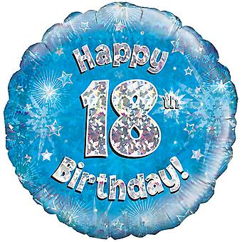 Oaktree 18 Inch Happy 18th Birthday Blue Holographic Balloon