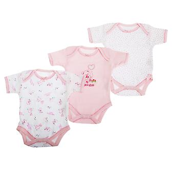 Baby Bodysuits, Baby Girls Pink Bear Pattern Short Sleeve Bodysuit  (Pack Of 3)