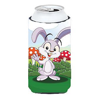 Bunny Rabbit in Mushrooms Tall Boy beverage Insulator Hugger