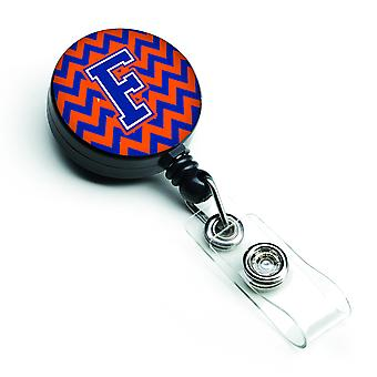 Letter F Chevron Orange and Blue Retractable Badge Reel