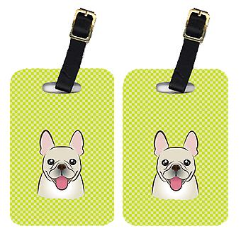 Pair of Checkerboard Lime Green French Bulldog Luggage Tags